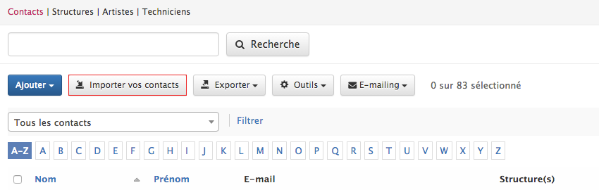 Importer vos contacts existants
